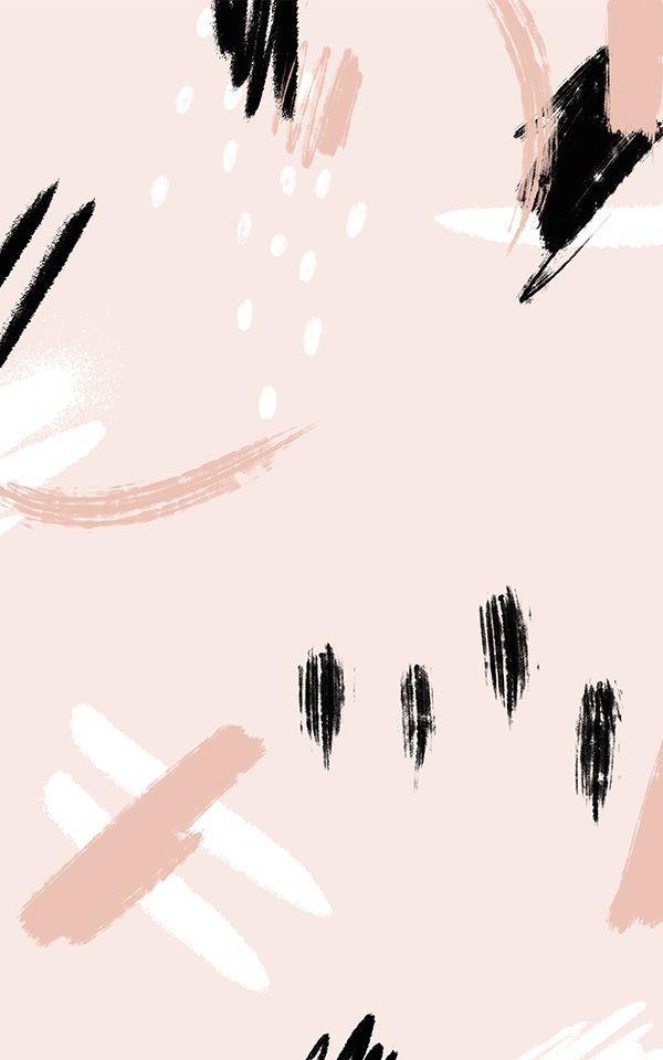Peach And Black Paint Brush Stroke - HD Wallpaper