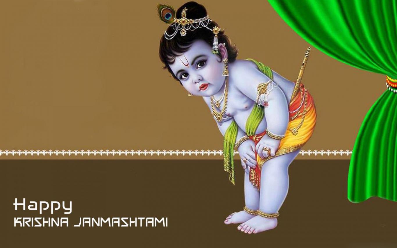 Cute Happy Krishna Janmashtami - HD Wallpaper