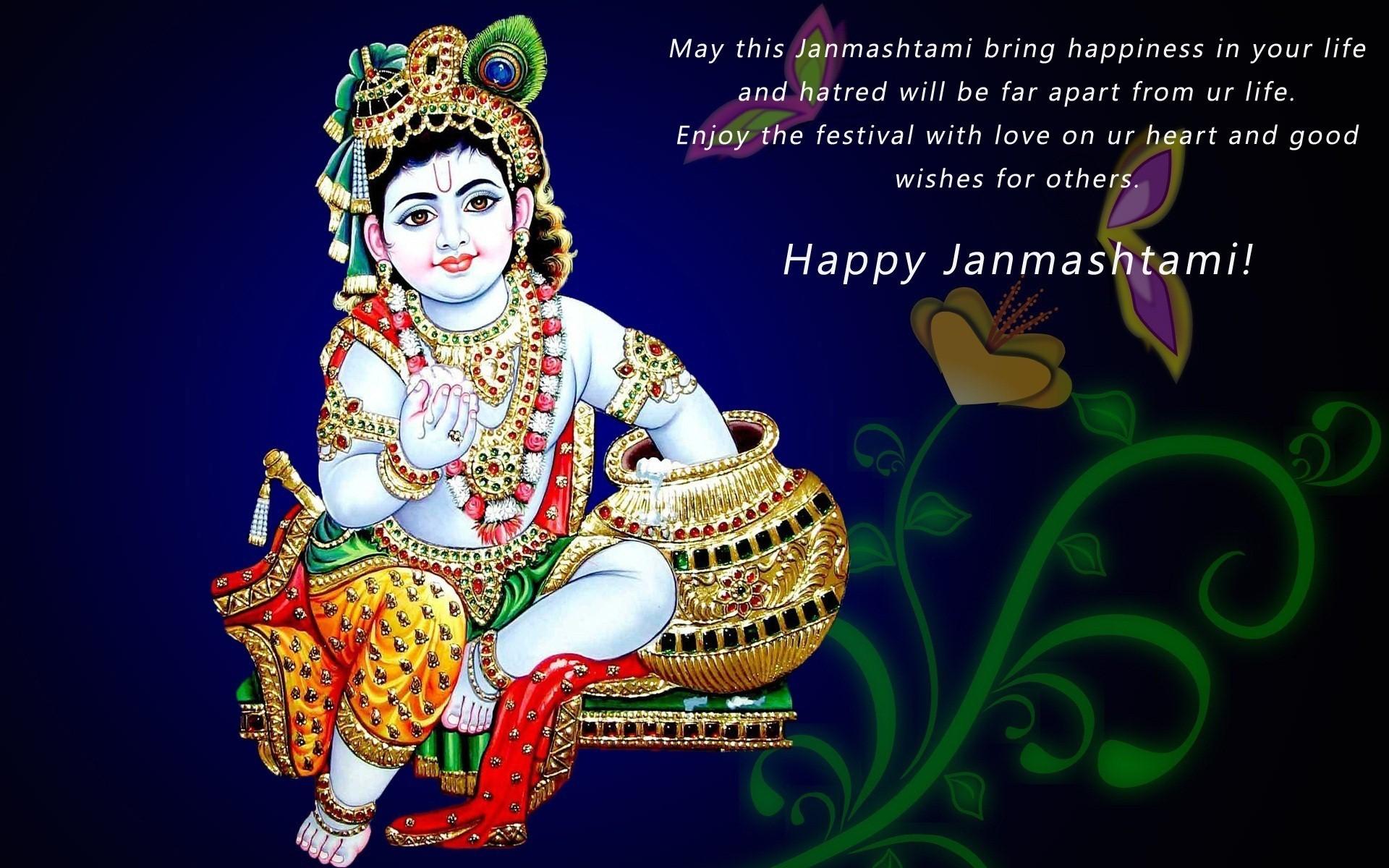 Wish You Krishna Happy Janmashtami Wallpaper - Krishna Janmashtami Date 2019 - HD Wallpaper