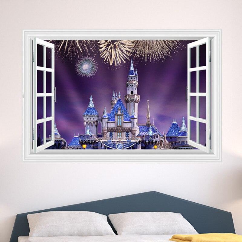 Princess Castle Forest Dream Wall Sticker 3d Fake Window - Dessin 3d Harry Potter - HD Wallpaper