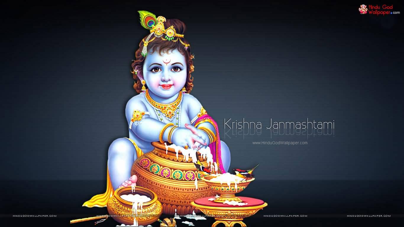 Krishna Janmashtami Greetings Wallpaper - Krishna Janmashtami Images Download - HD Wallpaper