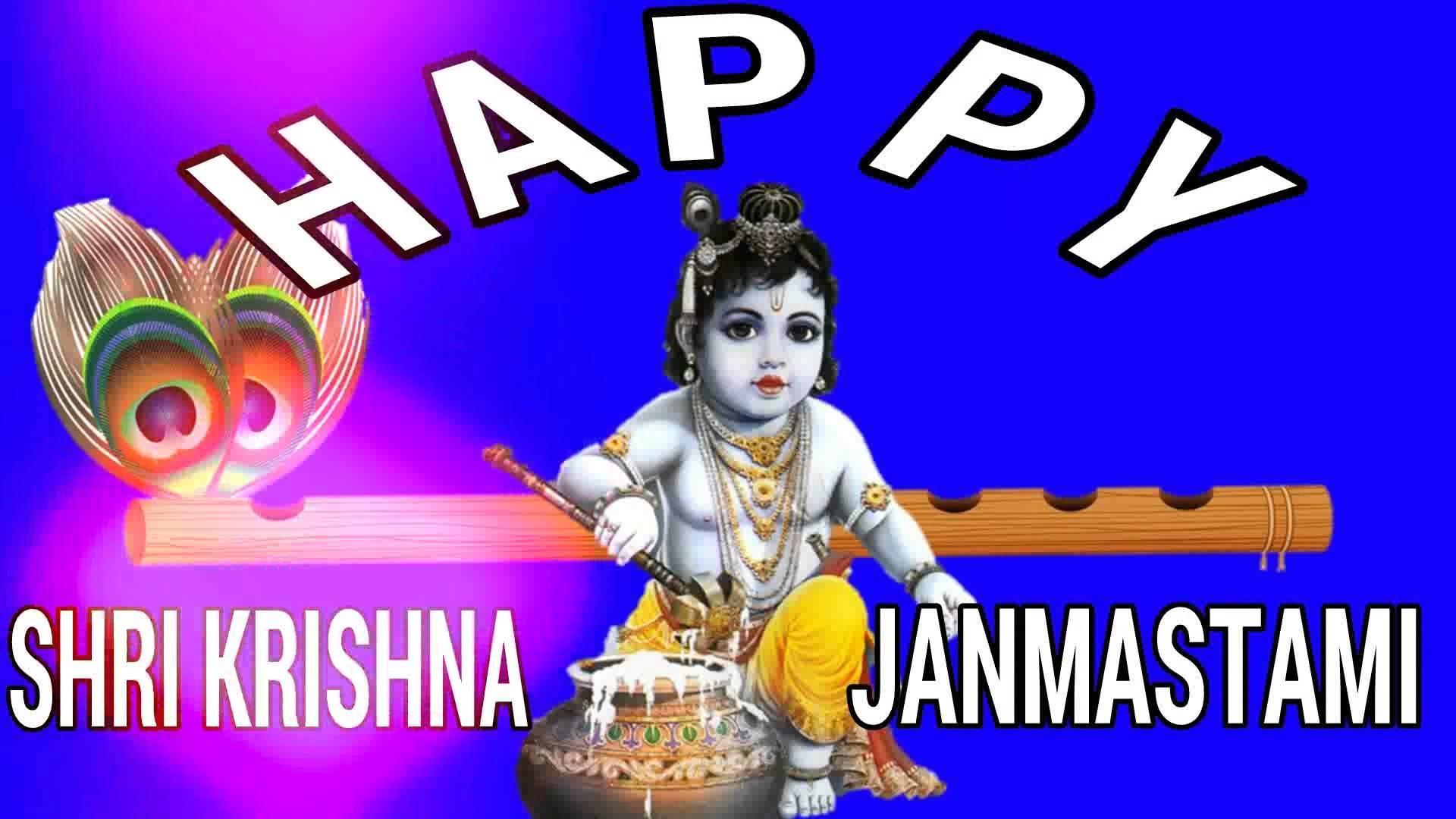 Sri Krishna Video Janmashtami - Happy Sri Krishna Janmashtami - HD Wallpaper