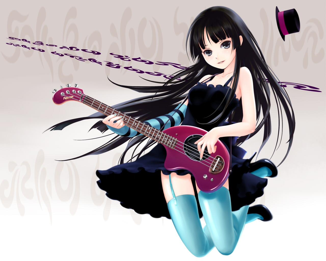 Anime Girl Bass Guitar - Anime Girl Playing Guitar - 10x10
