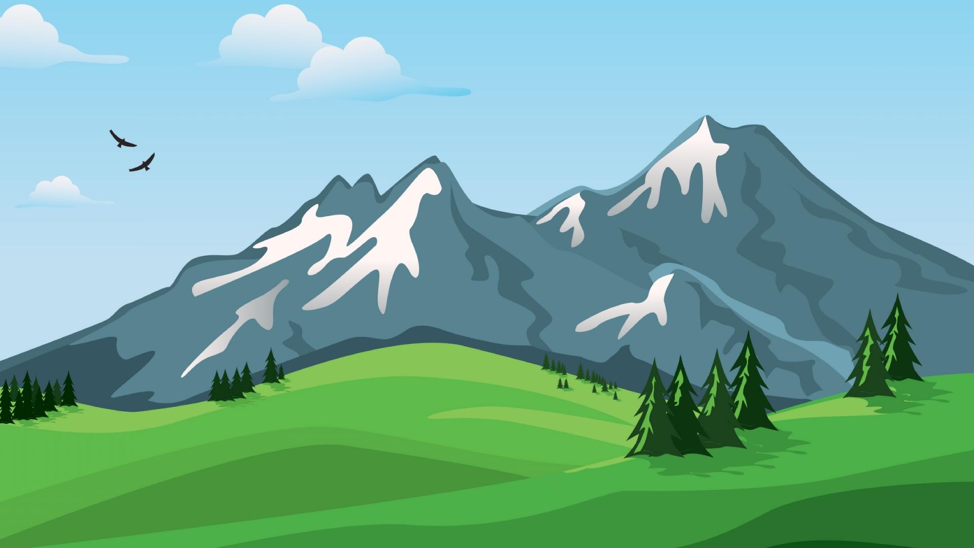 Wallpaper Mountains, Vector, Landscape, Nature - Mountain Vector Wallpaper Hd - HD Wallpaper