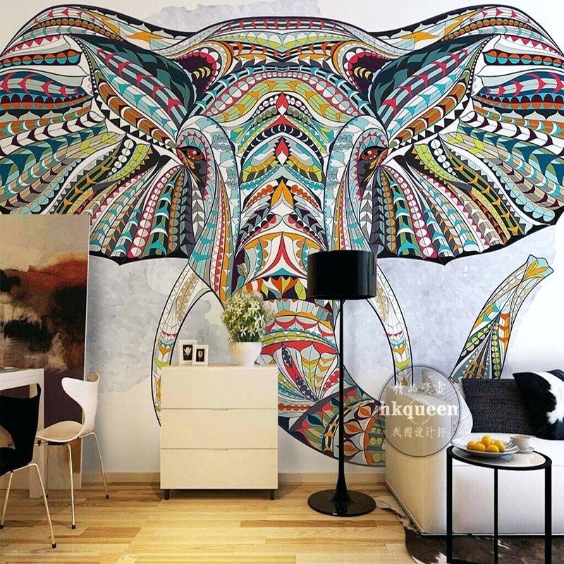 Custom Wallpaper For Walls Animal Totem Photo Bedroom - Elephant Wallpaper For Walls - HD Wallpaper