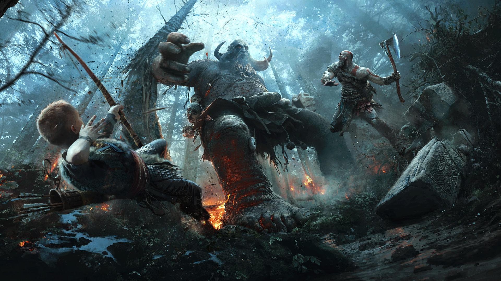 God Of War 4, Atreus, Kratos, Monsters, Artwork - God Of War 2018 -  1920x1080 Wallpaper - teahub.io