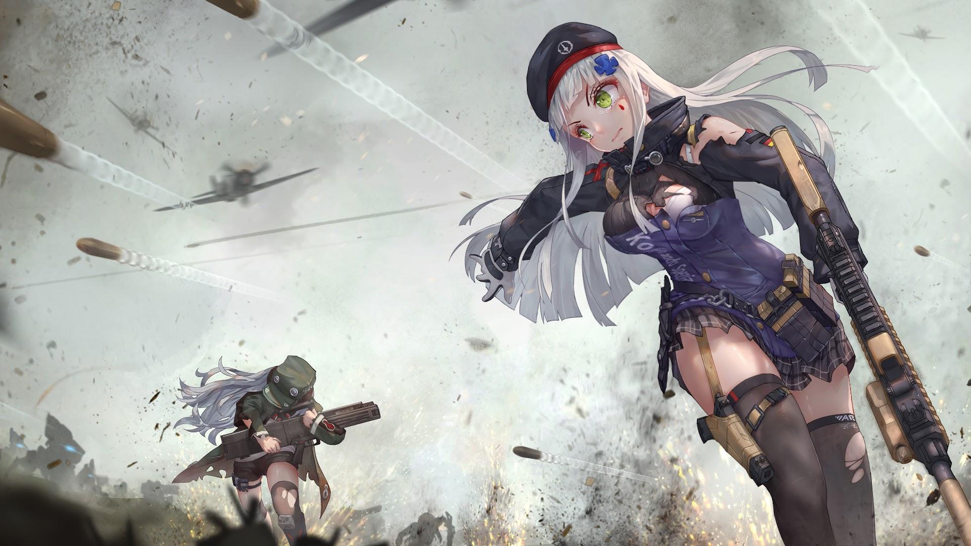Anime, Girl, Soldier, Rifle, 4k, - Anime Girl In Battle - HD Wallpaper