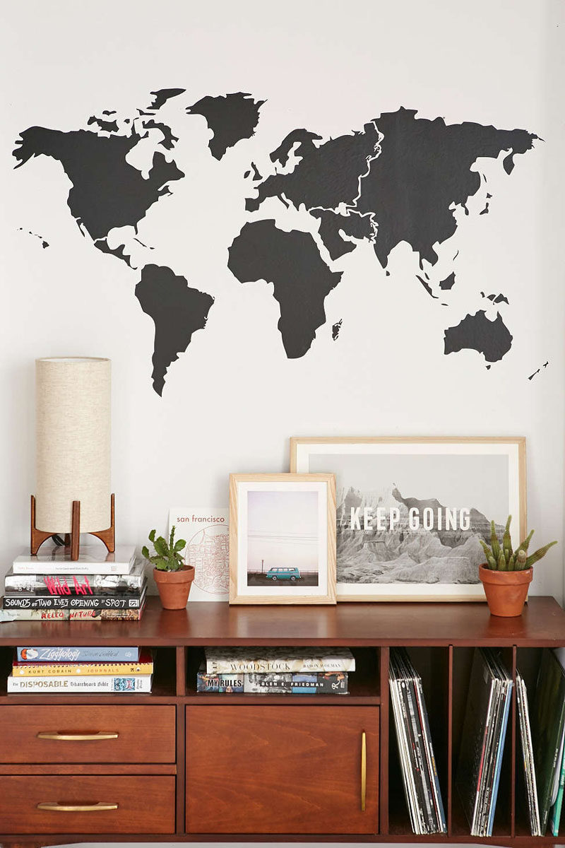 This Black Minimal World Map Wall Decal Is The Perfect - Wall Stickers For Bedroom Aesthetic - HD Wallpaper