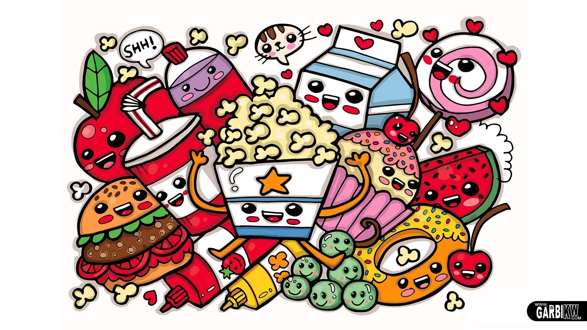 1920x1080 Cute Food Coloring Pages To Print Easy Doodle Art With Color 1920x1080 Wallpaper Teahub Io