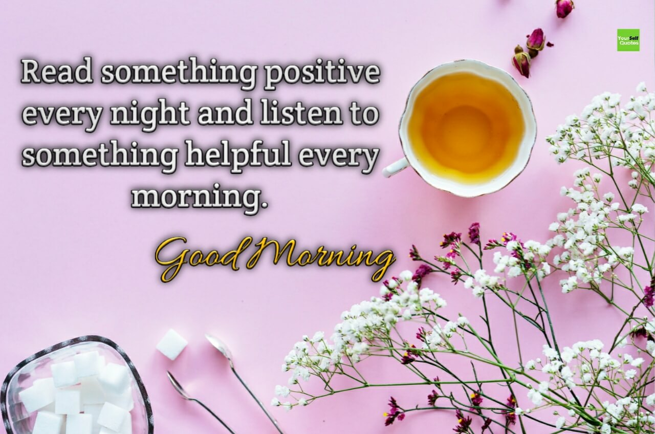 Good Morning Quotes Images - Tea And Flower - HD Wallpaper
