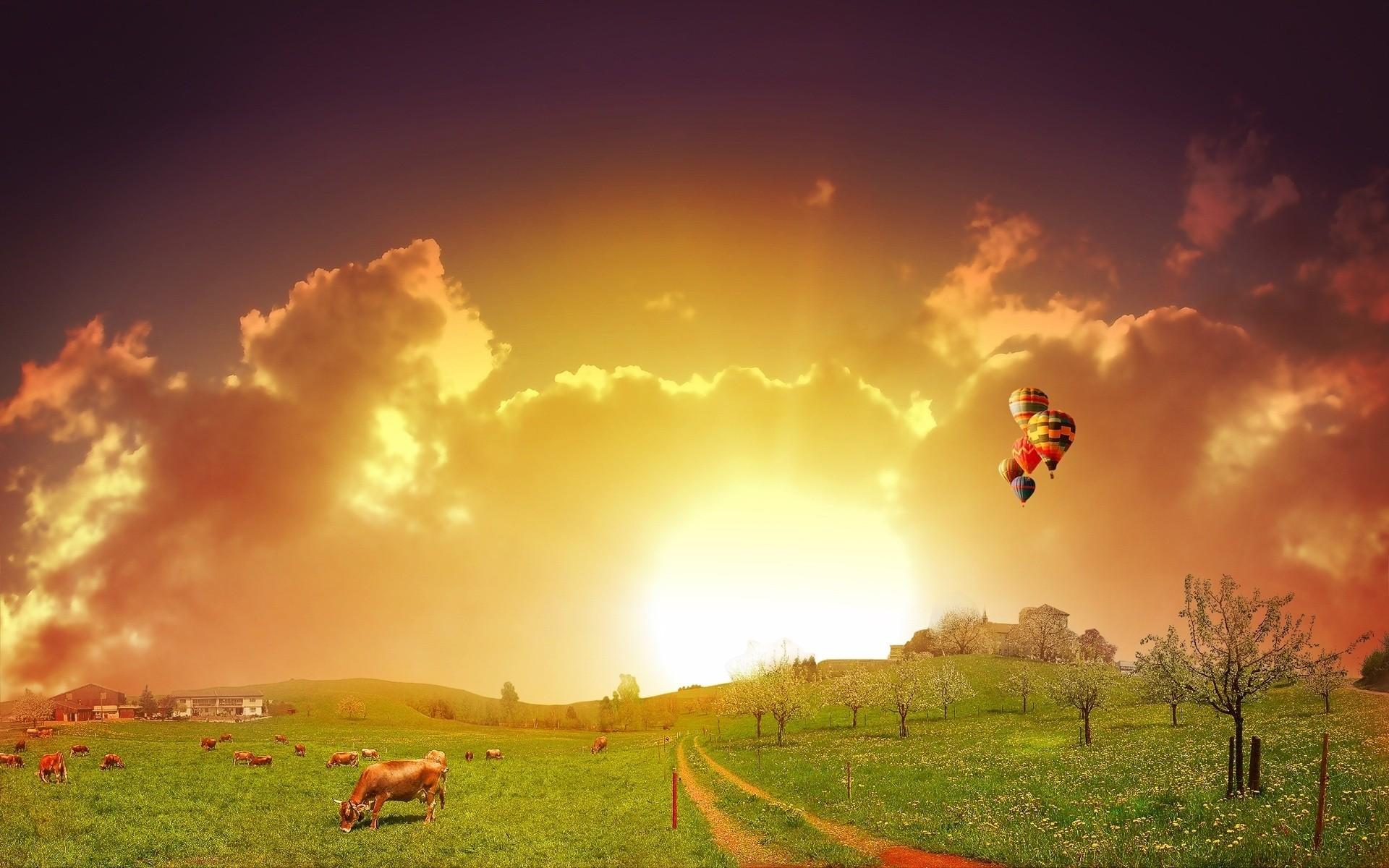 Summer Sunset Sun Dawn Sky Outdoors Landscape Nature - Colorful Nature Wallpaper Hd - HD Wallpaper