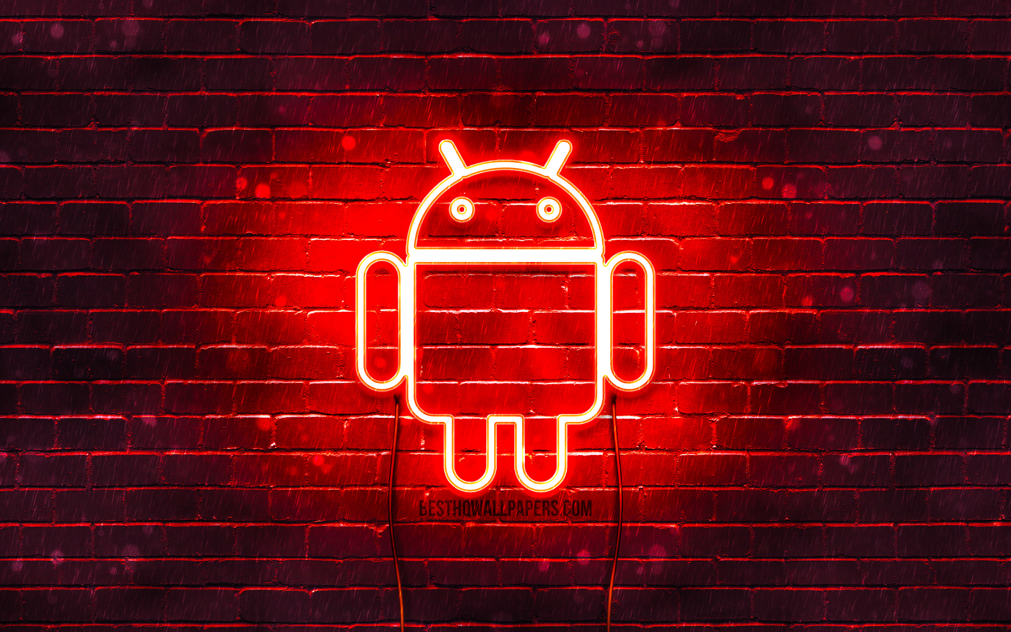 Android Red Logo, 4k, Red Brickwall, Android Logo ...