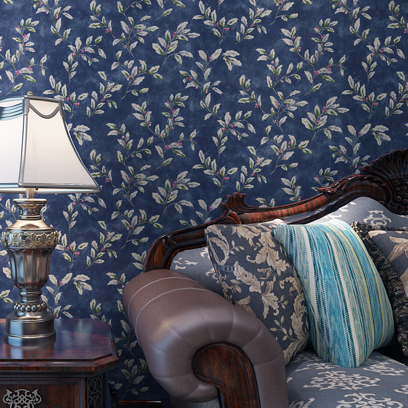 American Country Retro Small Flower Dark Blue Solid - Living Room Wallpaper Blue - HD Wallpaper