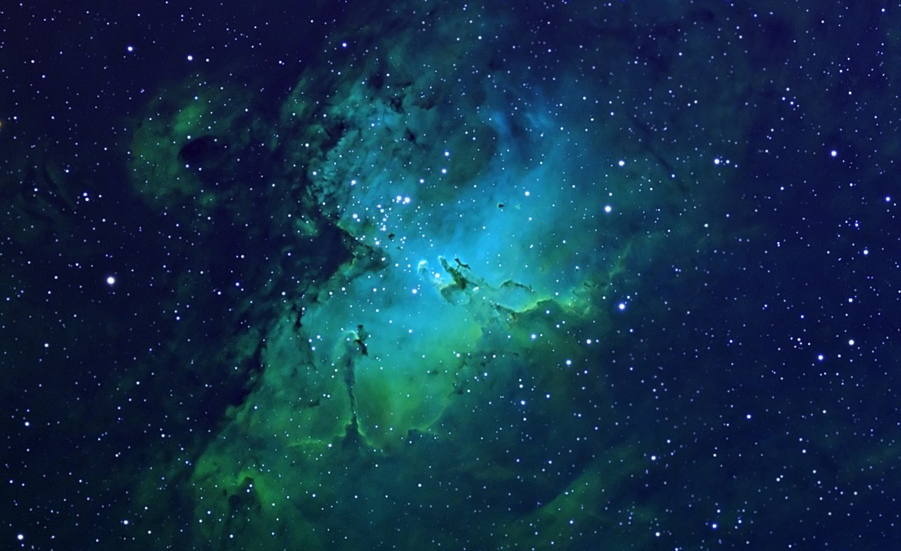 Galaxy, Stars, And Green Image - Blue And Green Galaxy Background - HD Wallpaper
