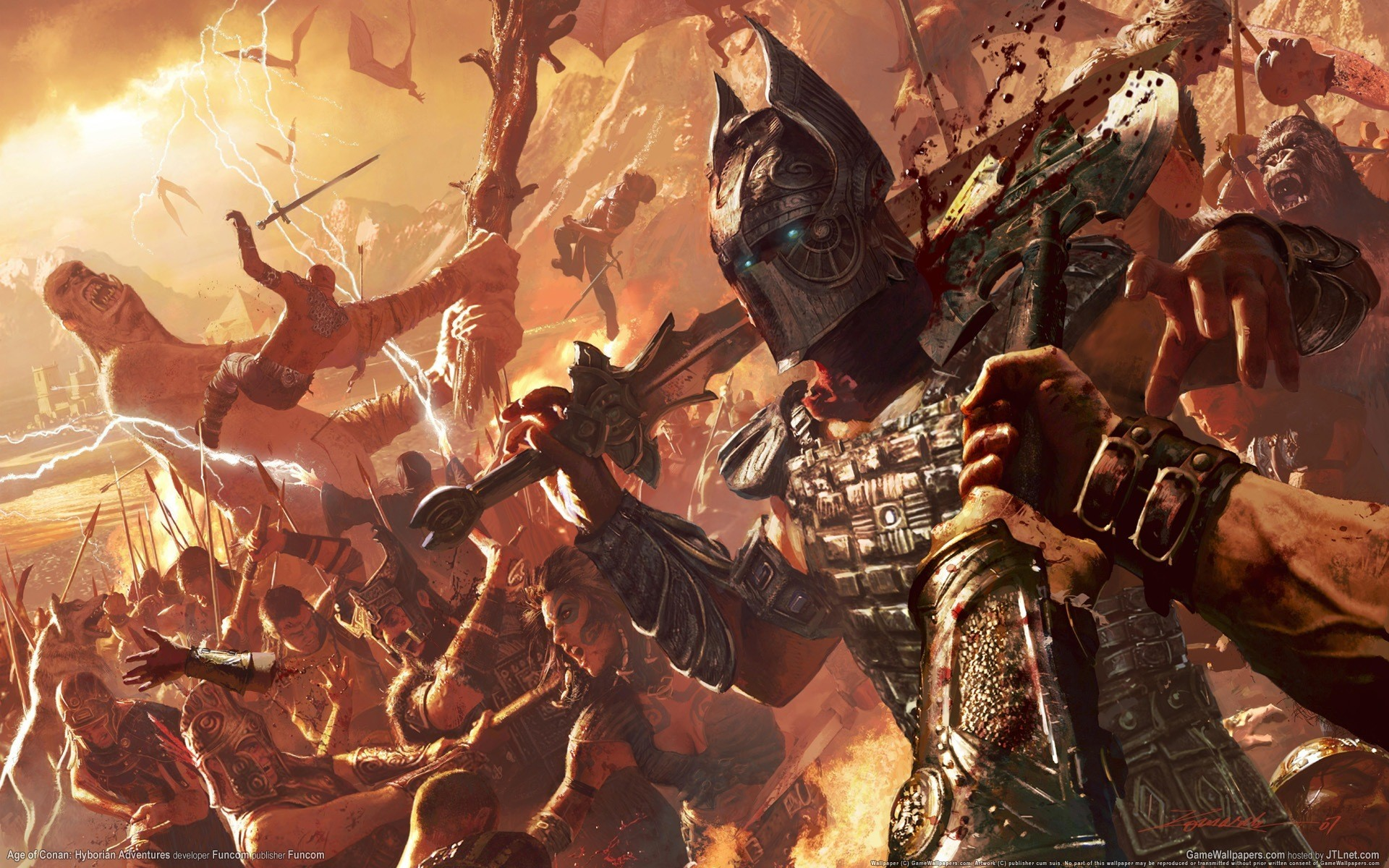 Age Of Conan Battle Game Conan Age Of Conan Epic Battle Wallpaper Hd 1920x1200 Wallpaper Teahub Io