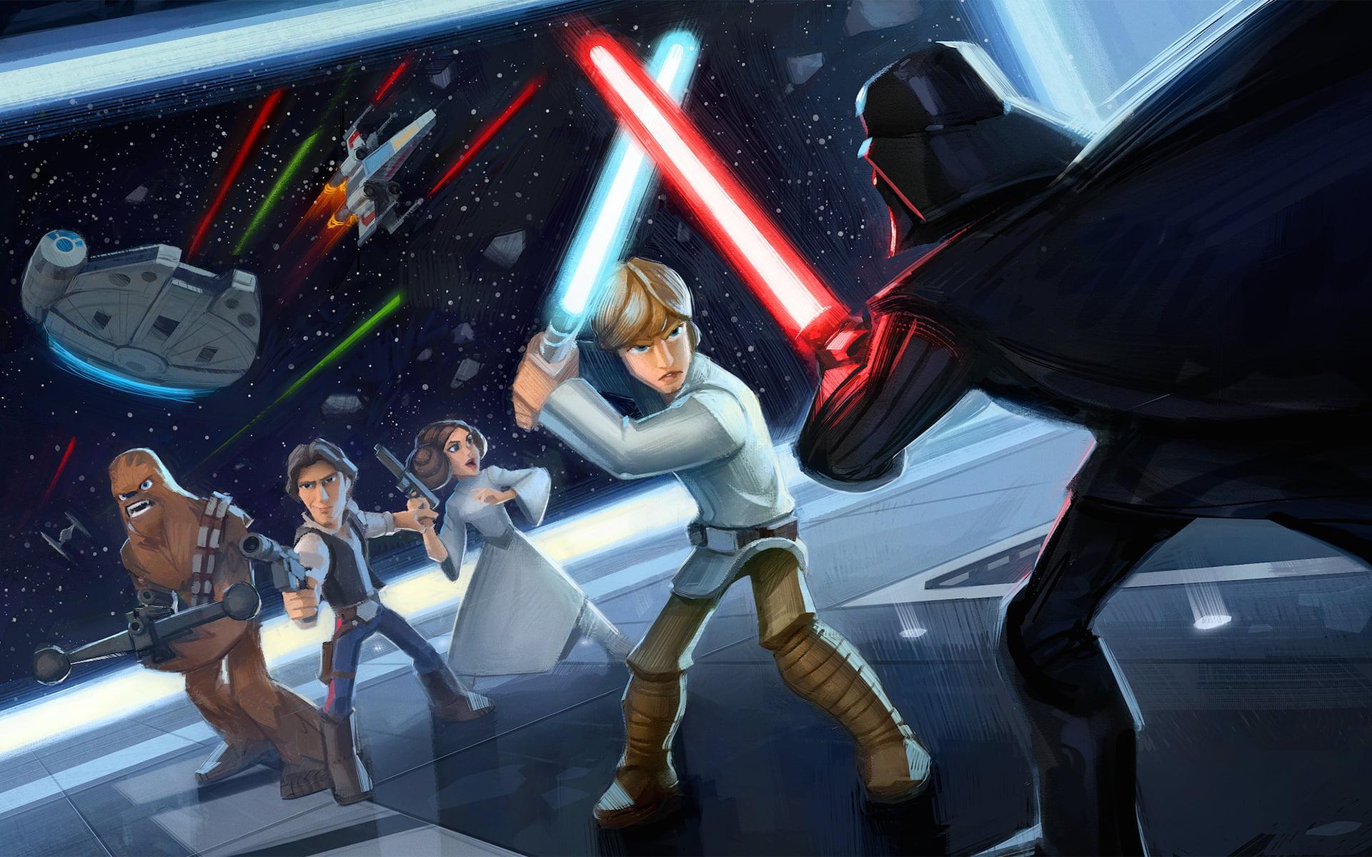 Luke Skywalker Vs Darth Vader Epic 1920x1200 Wallpaper Teahub Io