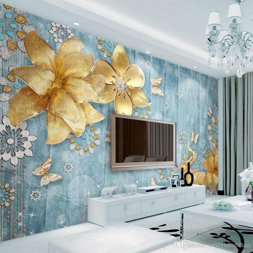 Luxury Golden Flower Wallpaper Custom 11d Wallpaper - Custom 3d Wall Paper - HD Wallpaper