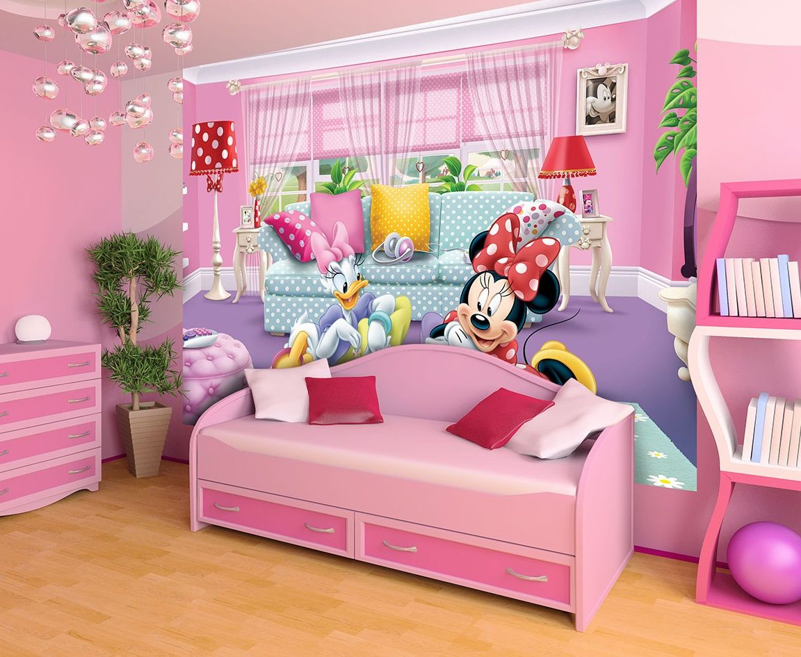 Mickey Mouse Wallpaper For Bedroom - Girls Bedroom Wall Mural - HD Wallpaper