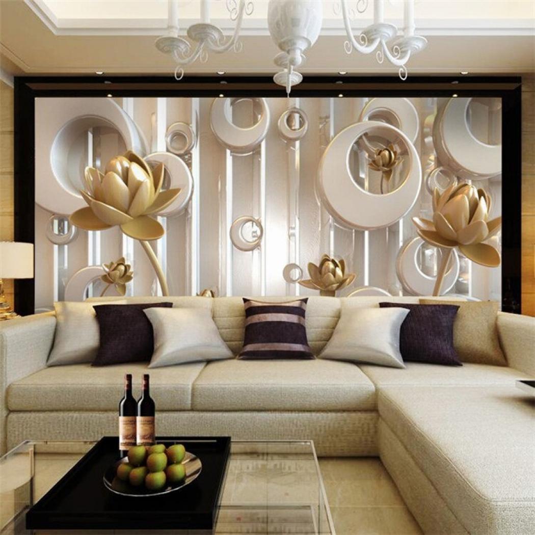 Wallpaper Golden Lotus Living Room Tv Wall Wallpaper - Mural Wallpaper Golden Lotus - HD Wallpaper