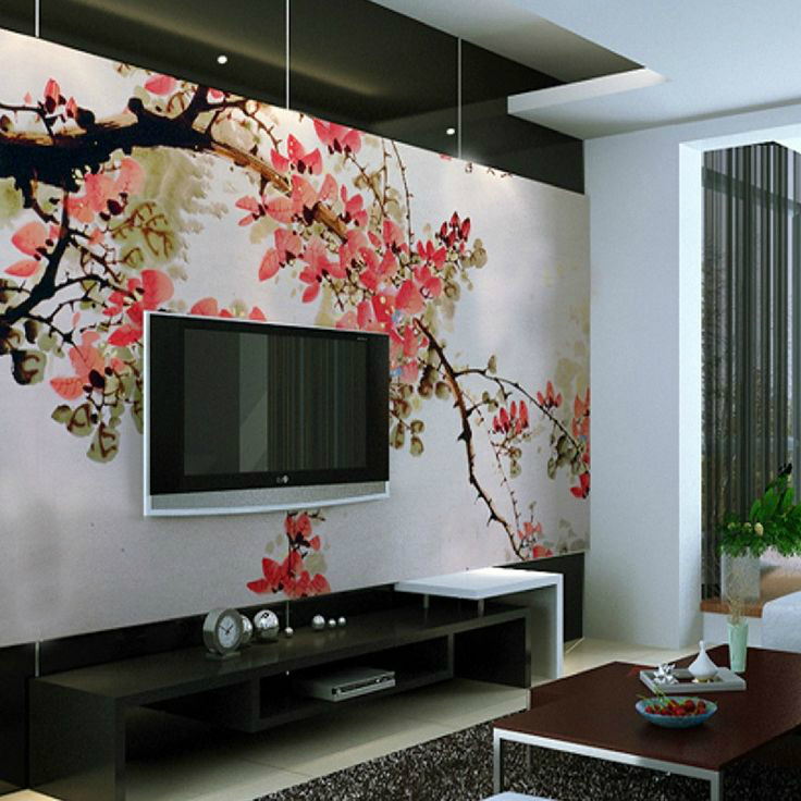 Floral Mural With A Tv - Wall Painting Design For Living Room - HD Wallpaper