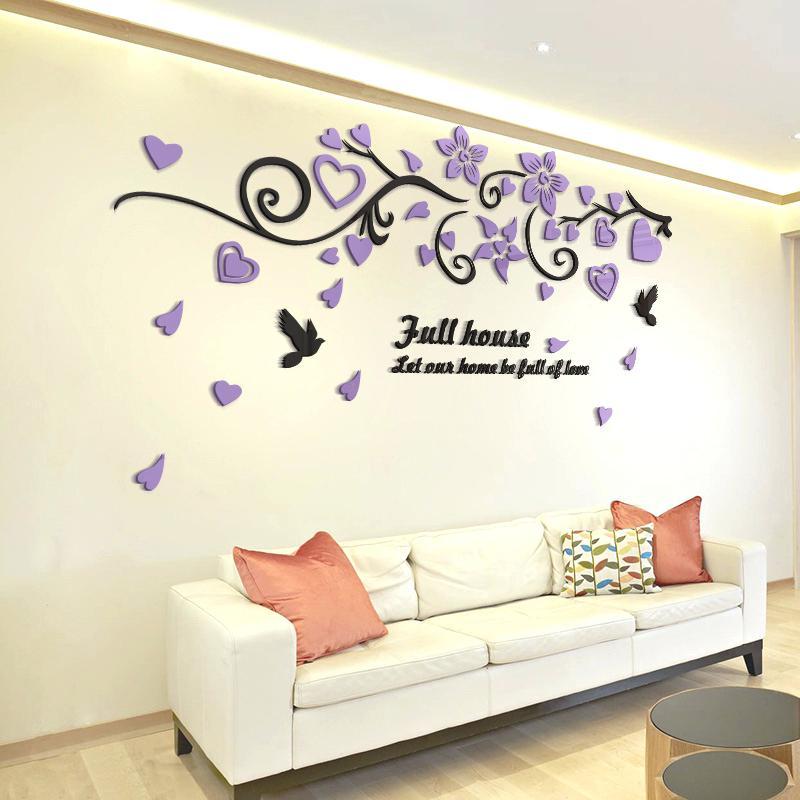 Bird Mirror Wall Decals Bird Love Flower Vine Wall - HD Wallpaper