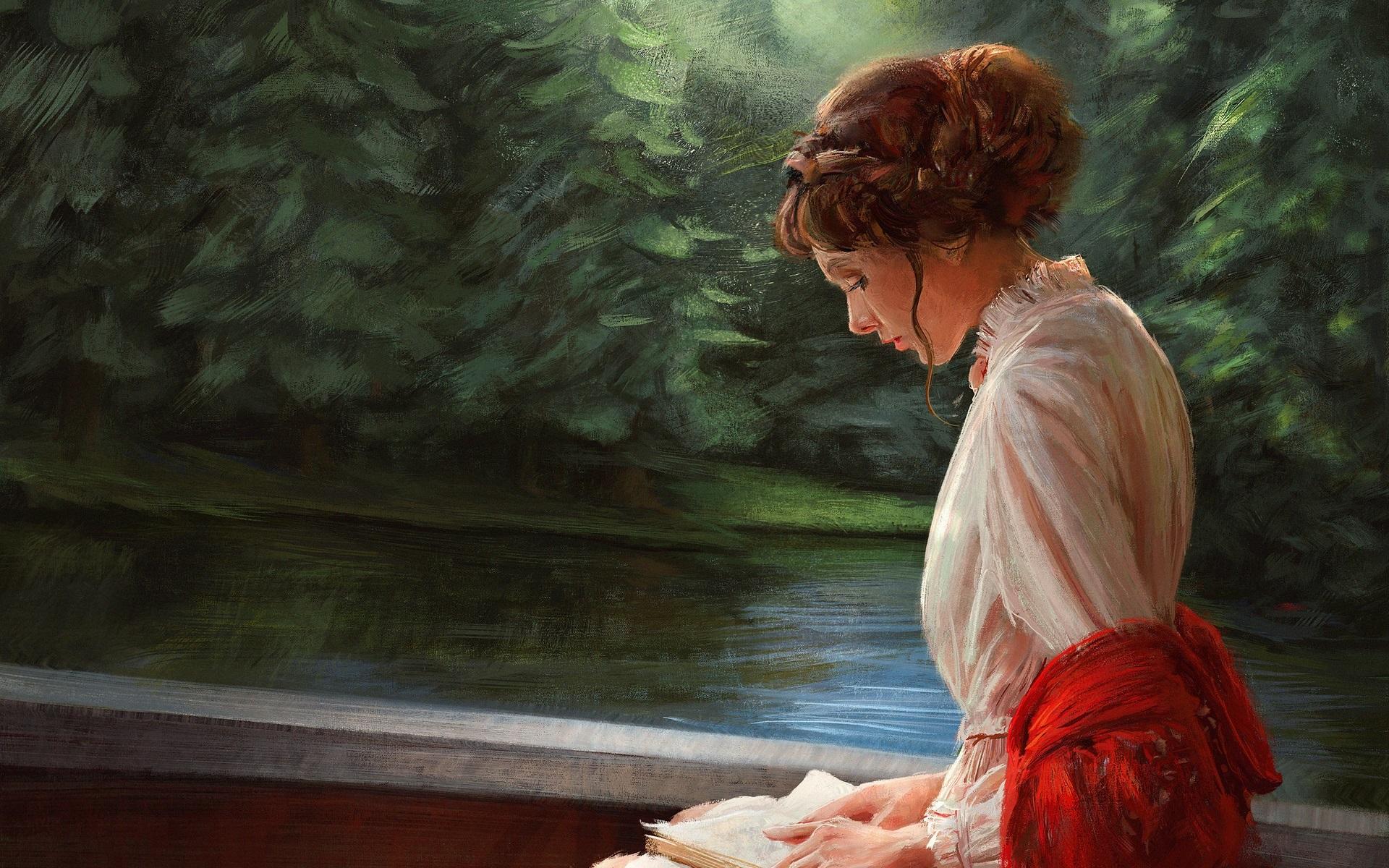 Wallpaper White Dress Girl Reading Book, Art Painting - Girl Reading Book Art - HD Wallpaper
