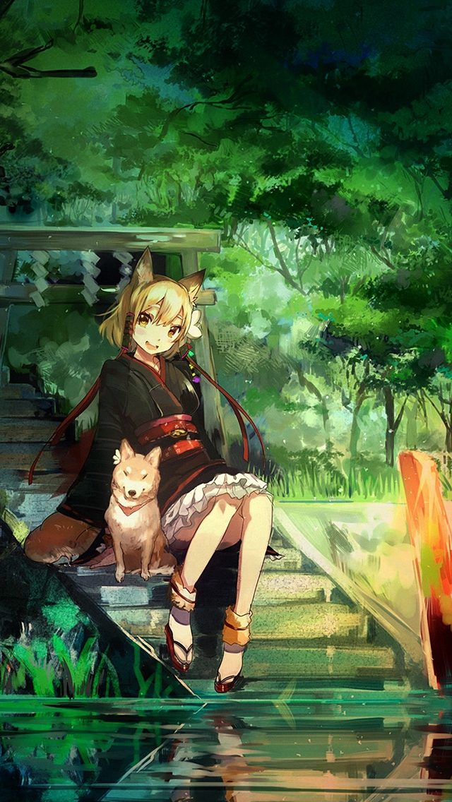 Girl And Dog Green Nature Anime Art Illust Iphone Wallpaper Anime Nature Wallpaper 4k Iphone 640x1136 Wallpaper Teahub Io