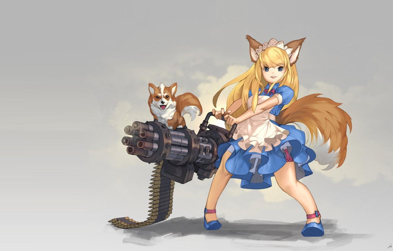 Photo Wallpaper Weapons, Dog, Anime, Art, Girl, Ears, - Dog Girls Anime Art - HD Wallpaper