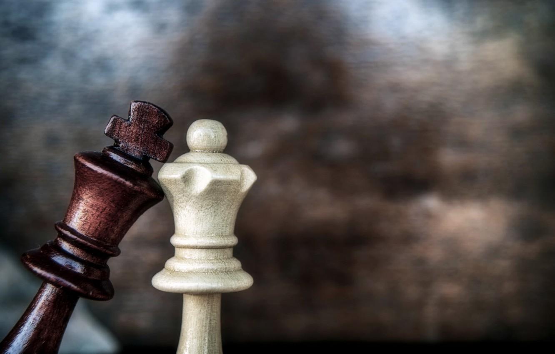 Wallpaper Love Game Macro Chess Queen King Images For - Chess Board King Queen - HD Wallpaper