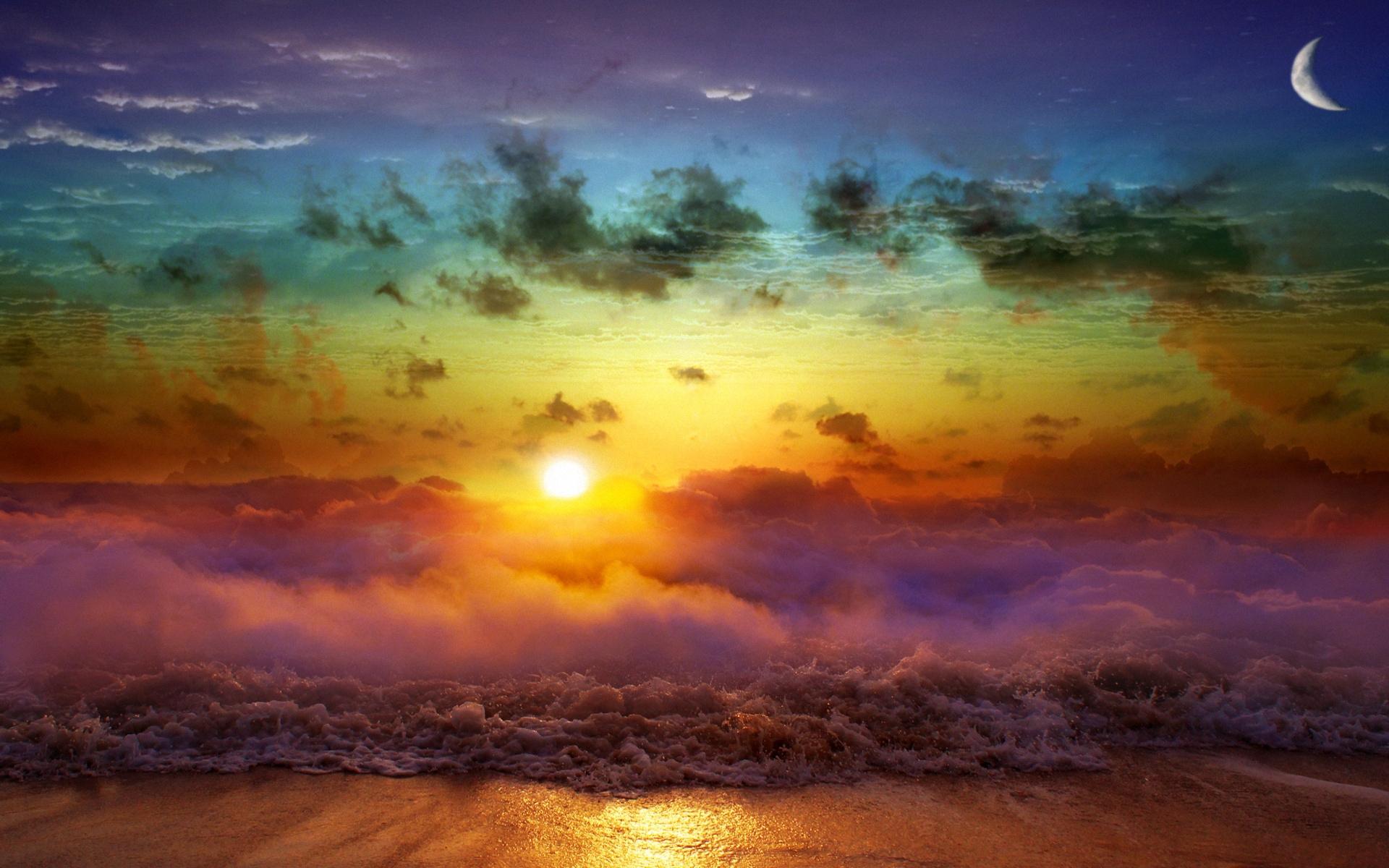Wallpaper Moon, Sun, Decline, Evening, Merge, Day, - Rainbow Sky Facebook Cover - HD Wallpaper