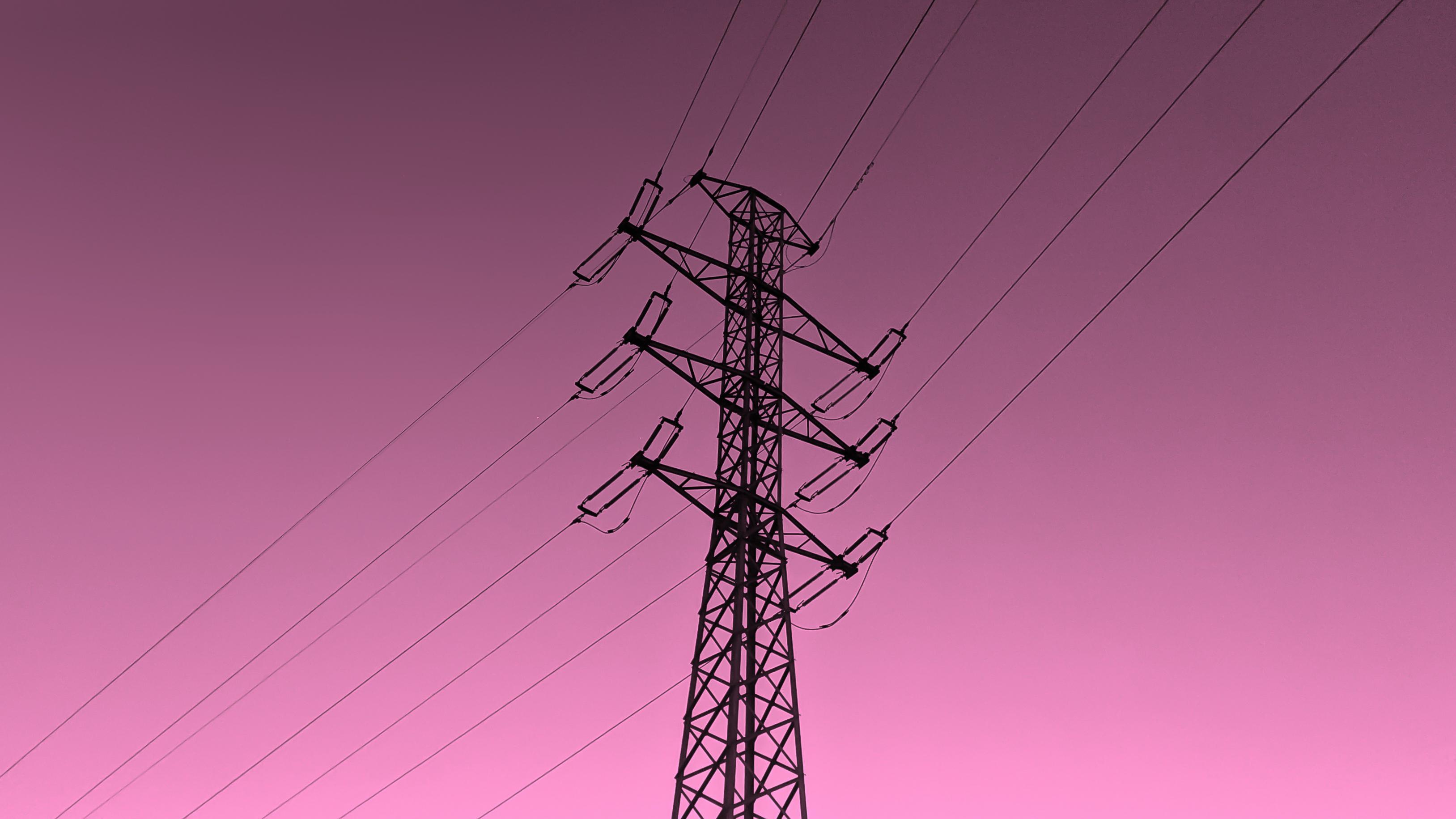 A Sunset Full Of Energy Wallpaper Transmission Tower 3255x1831 Wallpaper Teahub Io