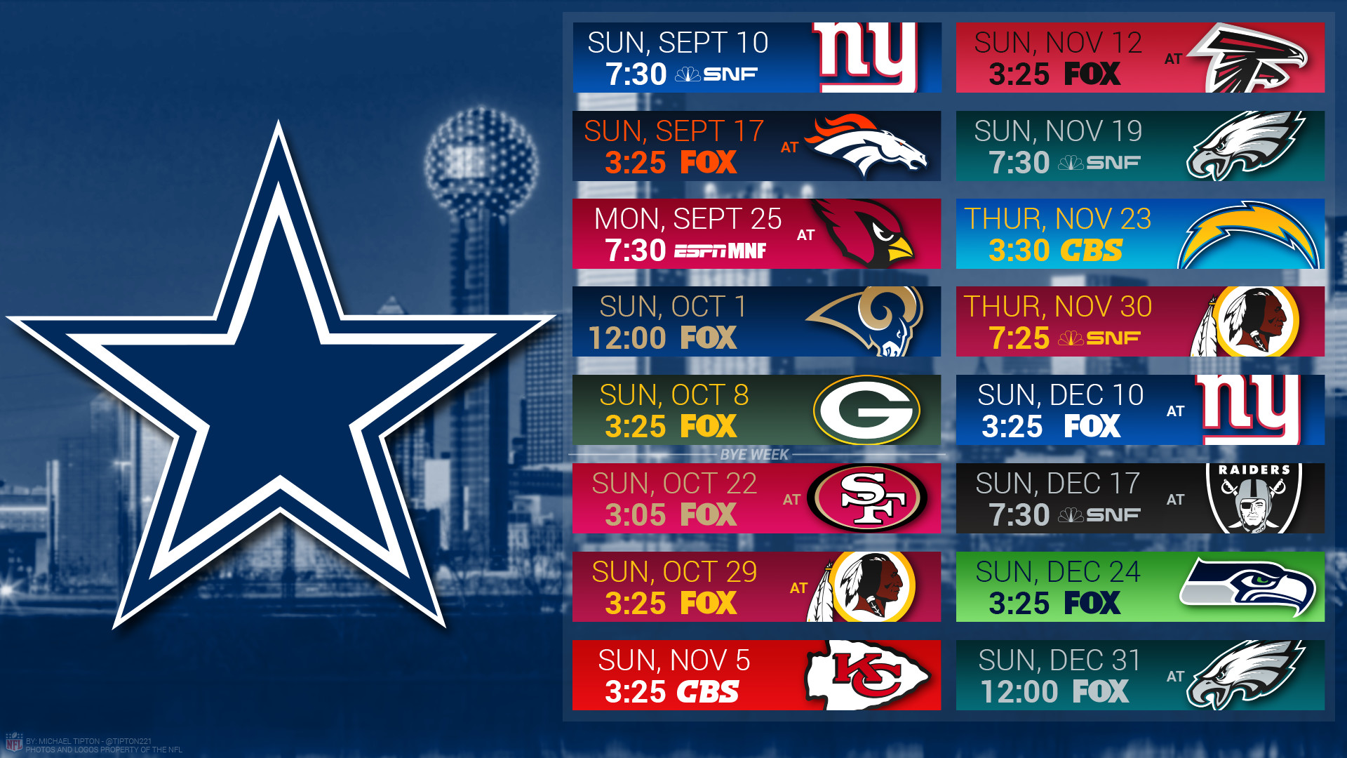 Dallas Cowboys Desktop 2017 Schedule Wallpaper City - Dallas Cowboys Calendar 2019 - HD Wallpaper