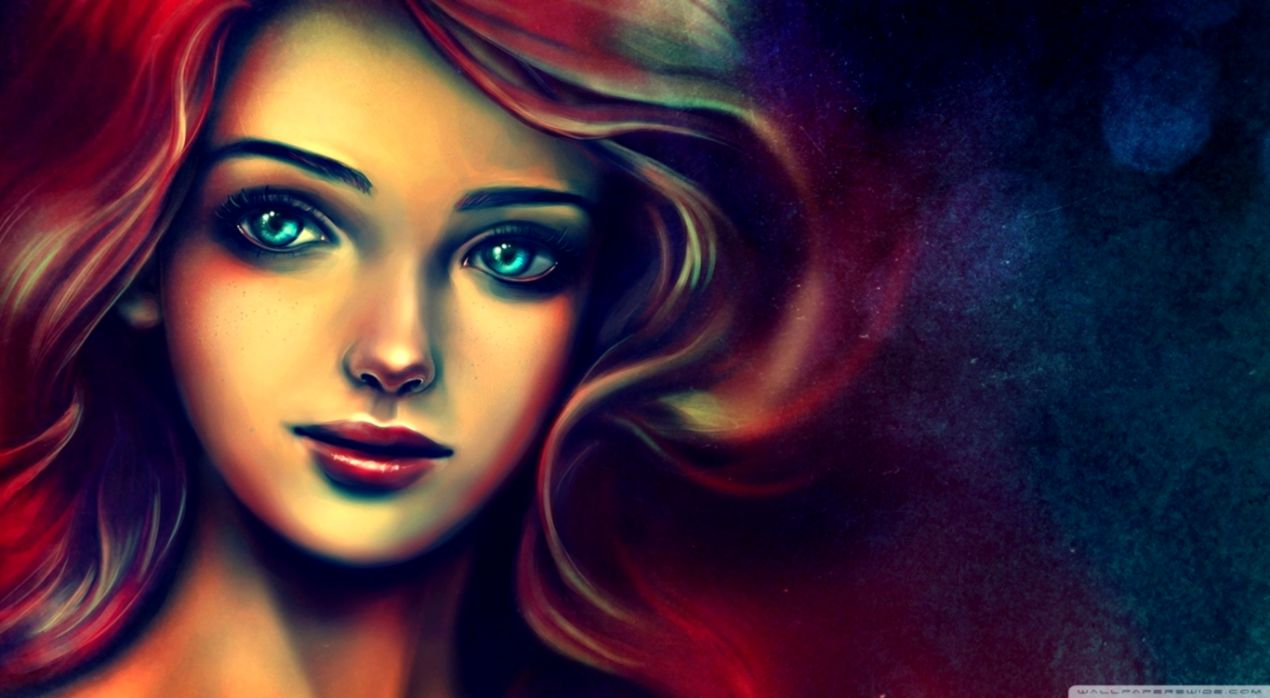 Portrait Of A Beautiful Woman Painting ❤ 4k Hd Desktop - Beautiful Paintings Of Girls - HD Wallpaper