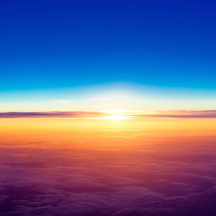 Ipad Air, Sunrise, Horizon, Sky, Landscape, Sunset, - Iphone 7 New Home Screen - HD Wallpaper