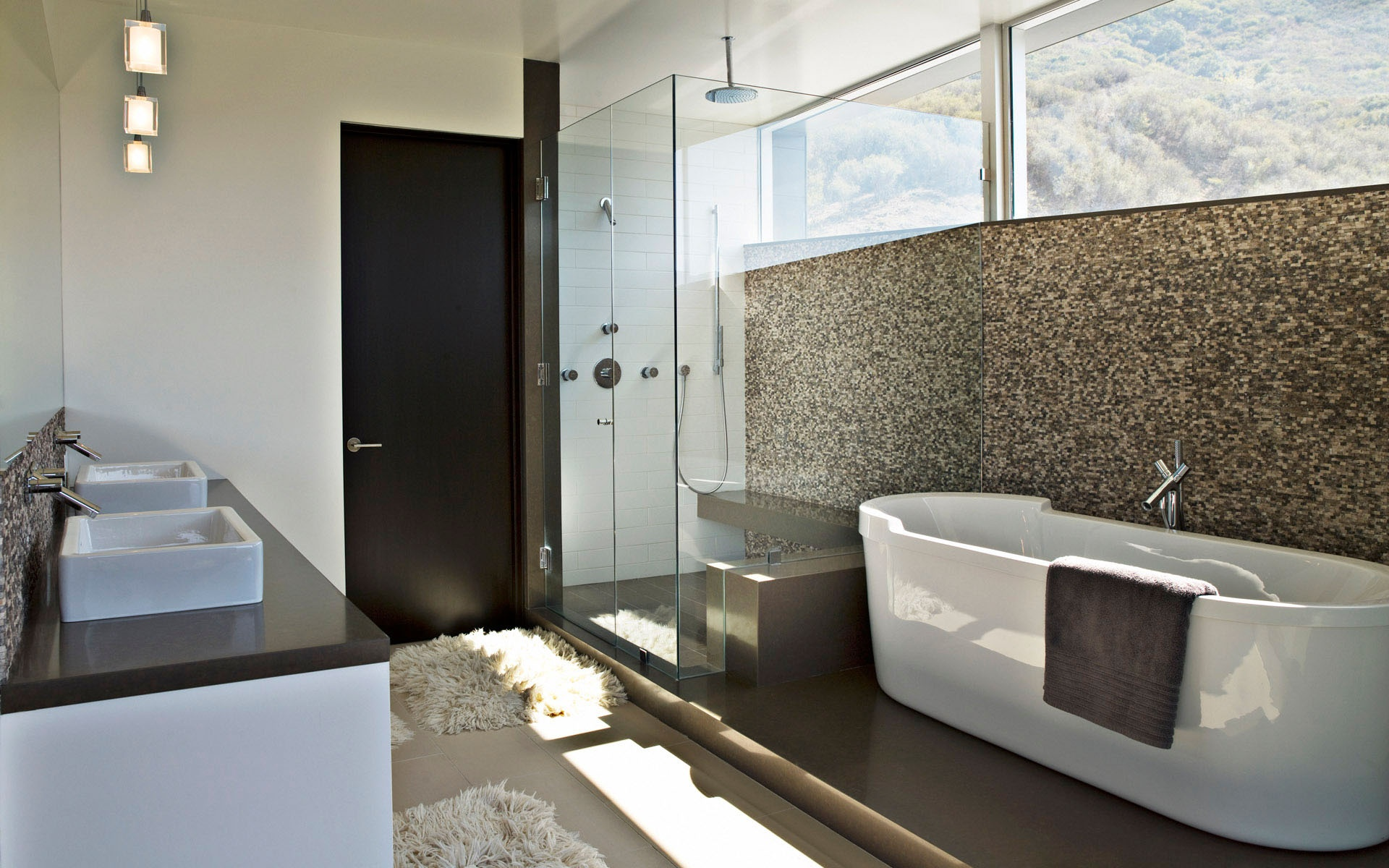 Beautiful Modern Bathroom Wallpaper Design - Bathroom Design With Bath - HD Wallpaper