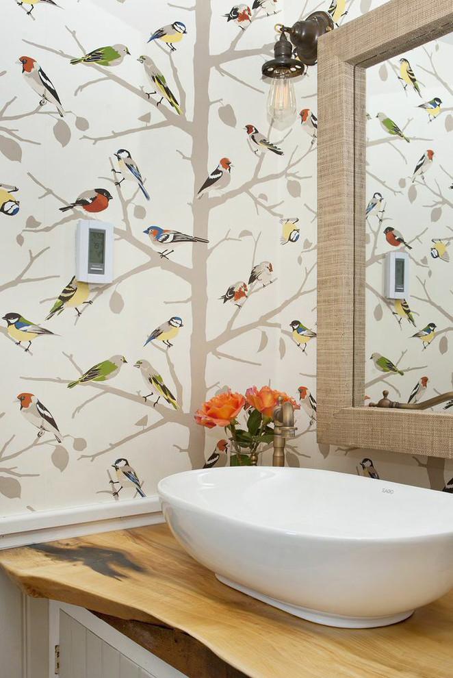 Rustic Modern Bathroom With Oval Bathroom Sinks Bathroom - Farmhouse Bathroom - HD Wallpaper