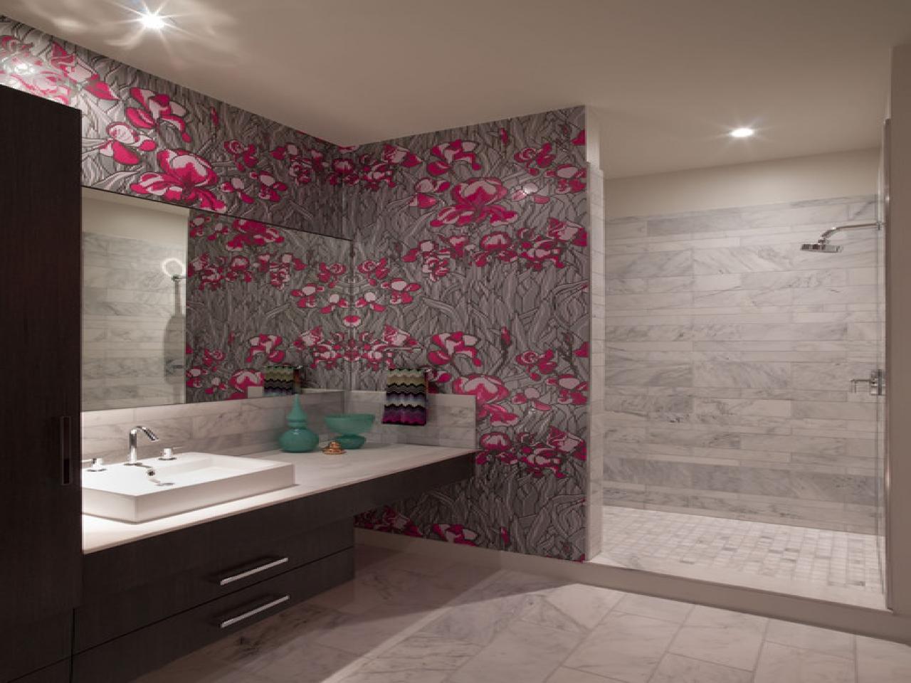 Girly Fashionable Bathroom Wallpaper Modern Ideas - Latest Bathroom Tiles - HD Wallpaper