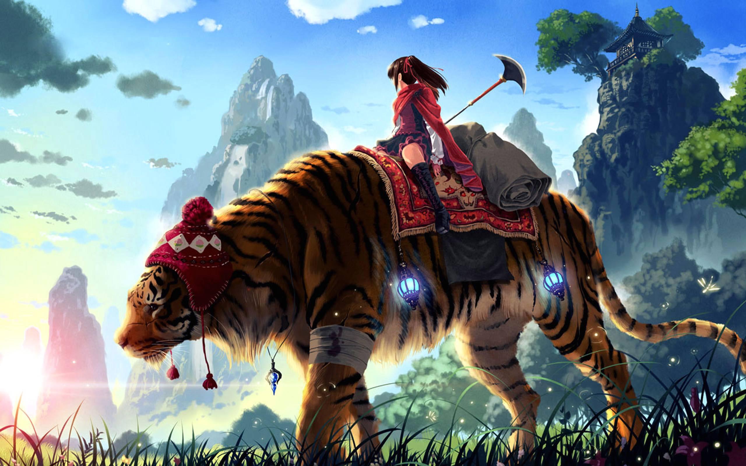 Free Anime Wallpapers Hd Download Free Anime Girl On Tiger 2560x1600 Wallpaper Teahub Io