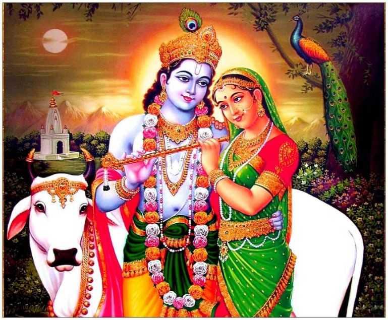 Whatsapp Dp Cow Wallpaper Shri Love Radha Desktop Krishna - Radha Krishna With Cow - HD Wallpaper