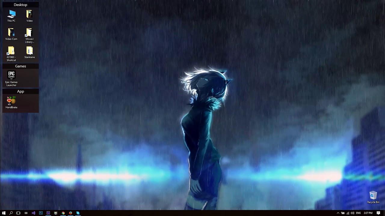 Anime Girl In The Rain - HD Wallpaper