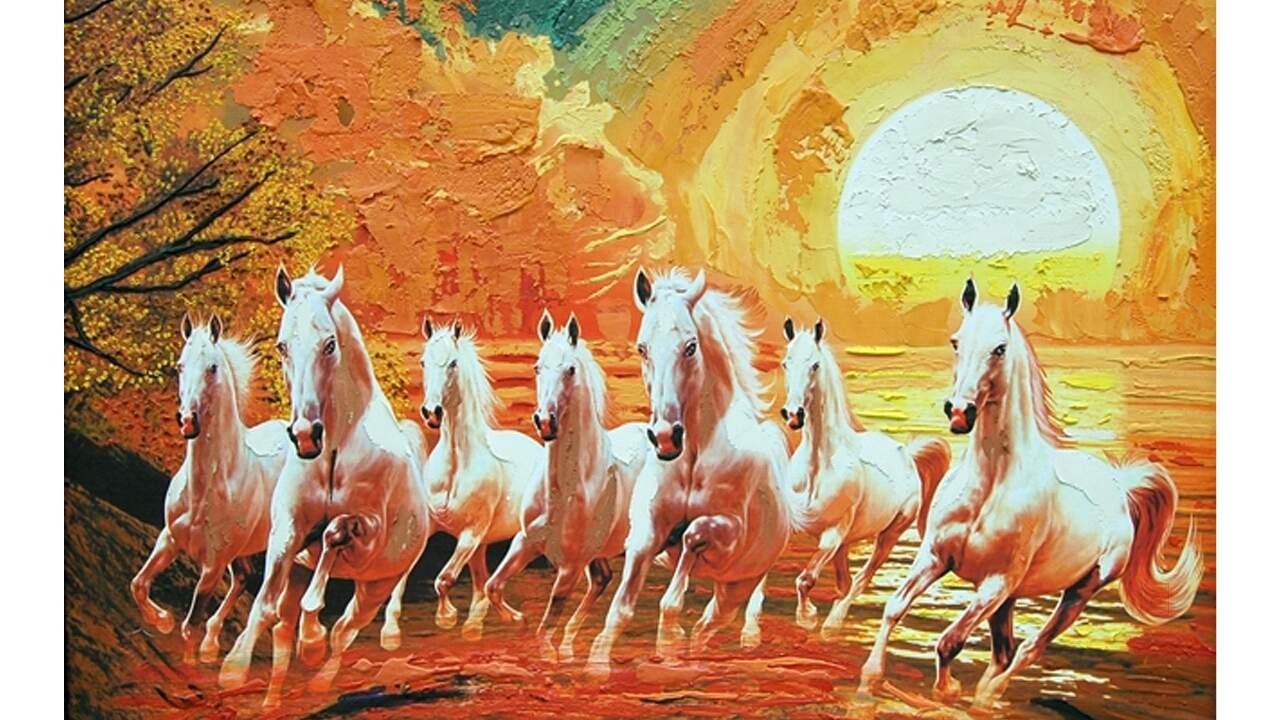7 Horses Painting Vastu 1280x720 Wallpaper Teahub Io