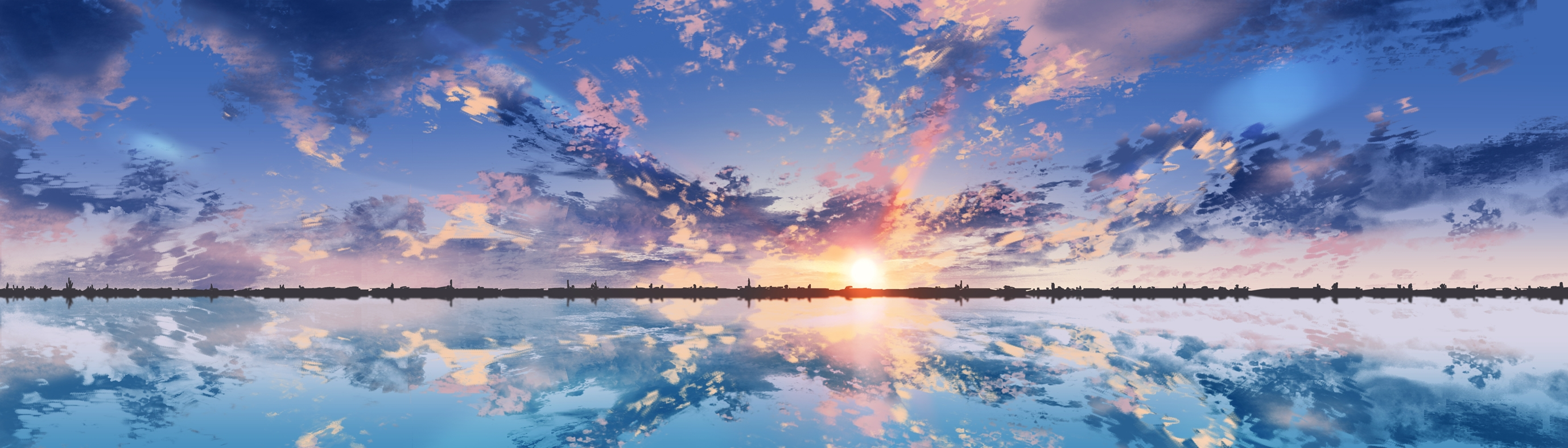 Anime Scenic, Clouds, Sunset, Reflection, Dual Monitor ...