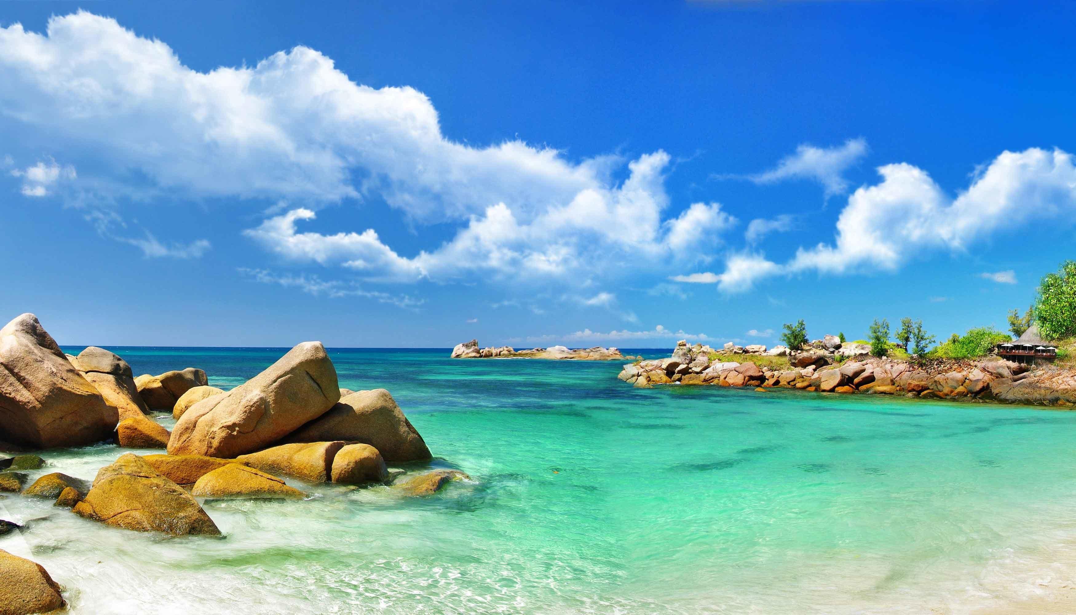 Sea Ocean Clouds Stones Nature Tropics Scenery Wallpapers - Windows Sea Desktop Backgrounds - HD Wallpaper