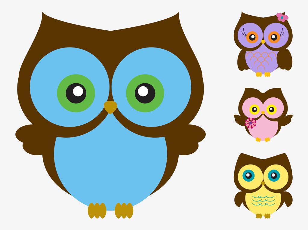 Owl Cartoon Wallpaper - Owl Vector Cartoon - HD Wallpaper