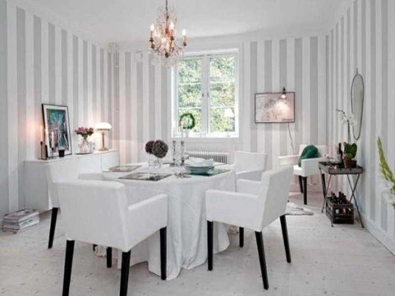 Contoh Gambar Desain Ruang Tamu Dengan Wallpaper Terkini - Stripe Wall Living Room Design - HD Wallpaper