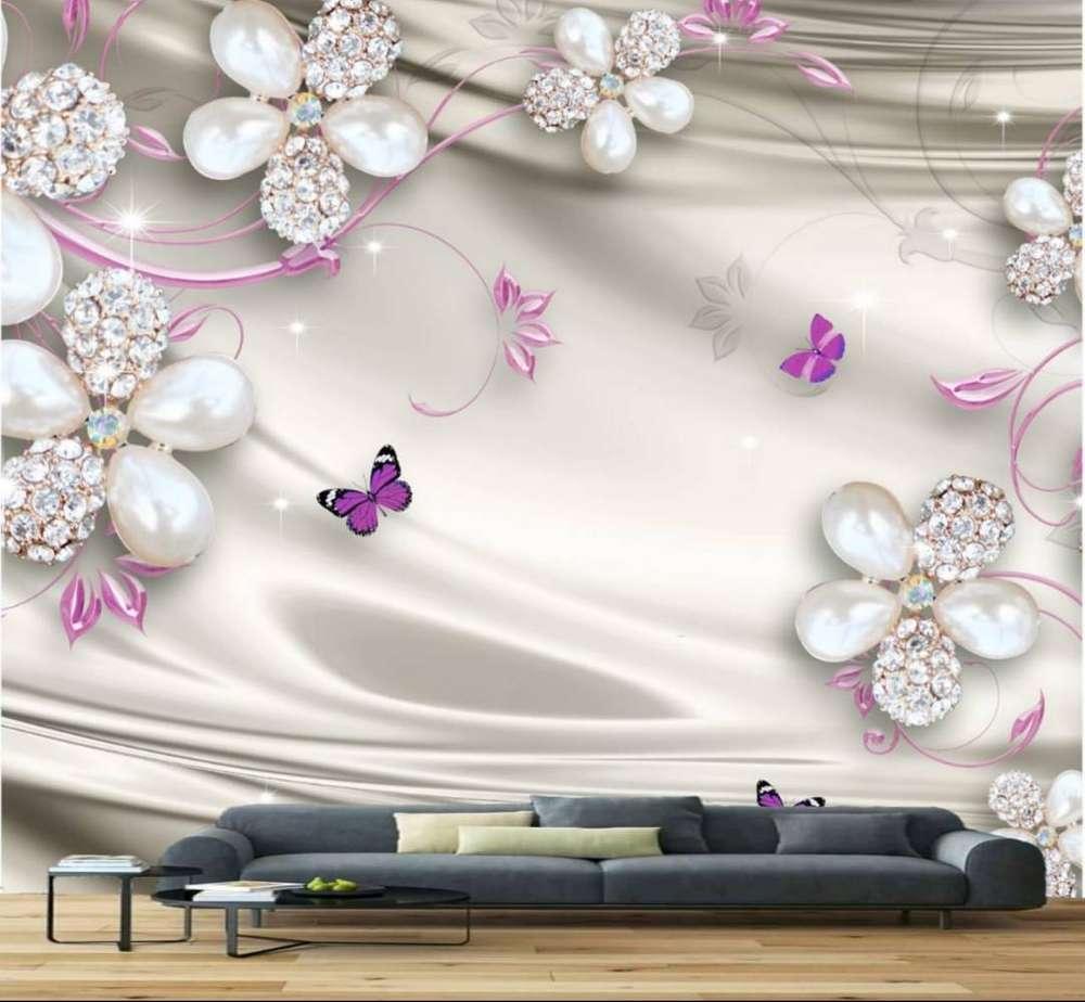 Wallpaper Dinding Bunga 3d New - Фреска ...