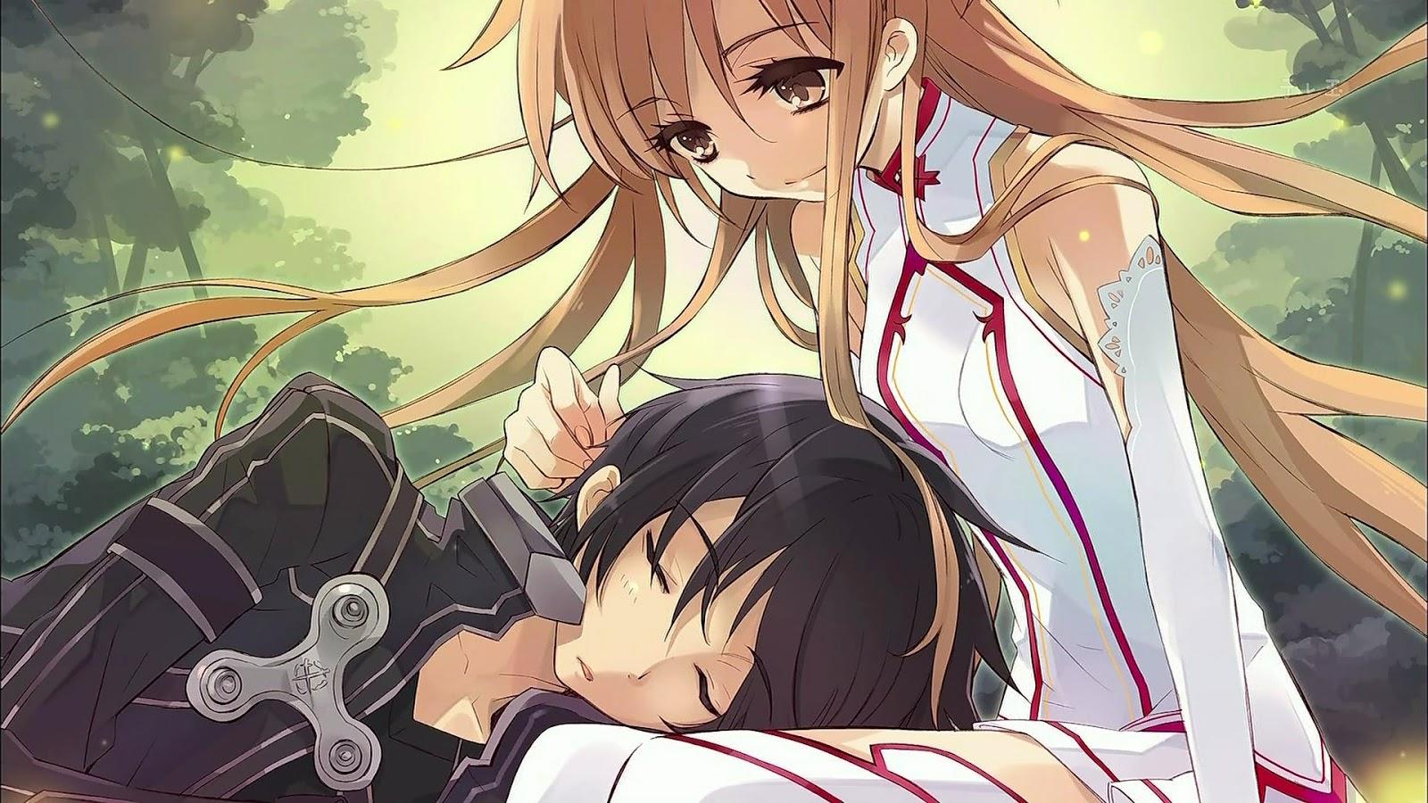 Wallpaper Gambar Kartun Romantis Jepang Terbaru Gambar - Kirito And Asuna Hot - HD Wallpaper