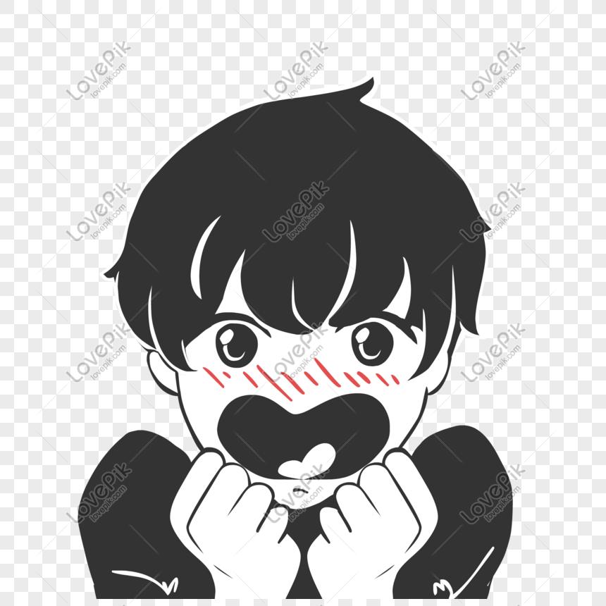 Kartun Hitam Dan Putih Anime Jepang Lucu Emoticon Png - Gambar Hitam Putih Kartun - HD Wallpaper