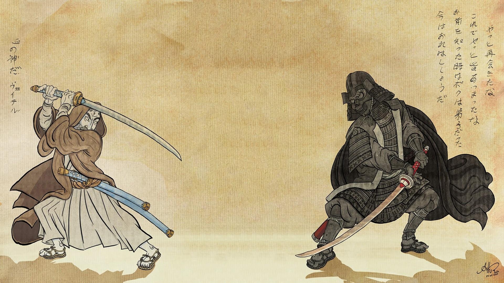 Star Wars Wallpapers Japanese Woodblock Prints Samurai 1920x1080 Wallpaper Teahub Io