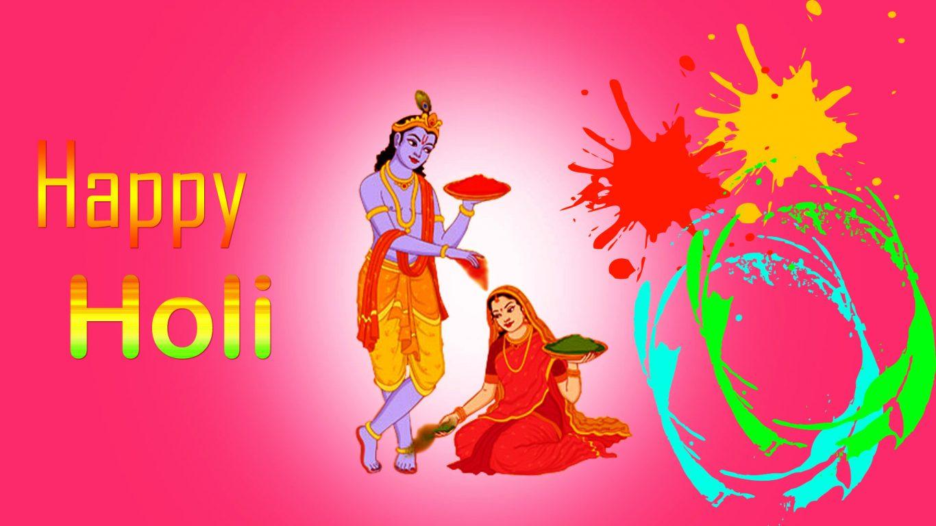 Radha Krishna Holi Hd - HD Wallpaper